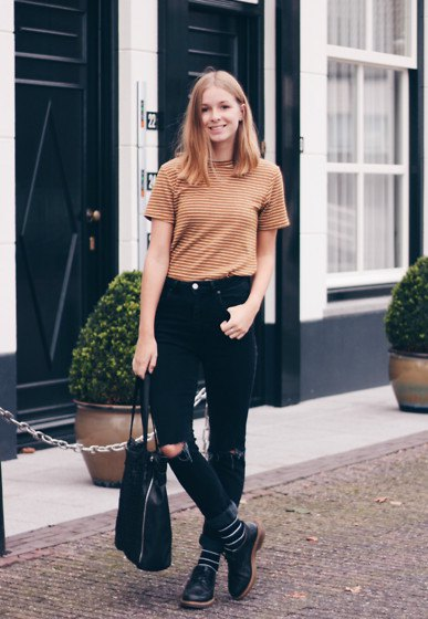 green-black striped t-shirt with ripped jeans