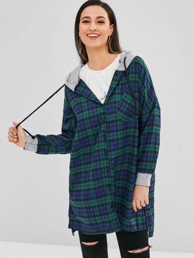 green-blue tunic checked shirt with hood and ripped jeans