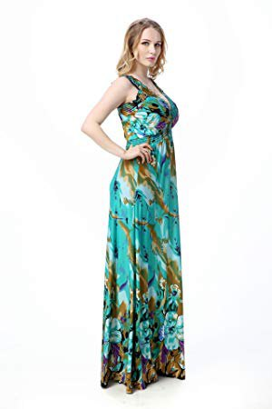 flowing floor-length silk dress with green and pink floral print