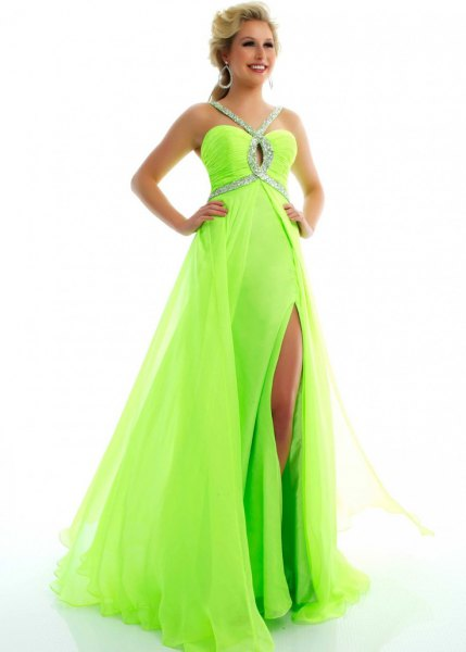 Green and Silver Sequin Chiffon High Split Maxi Flowy Ball Gown