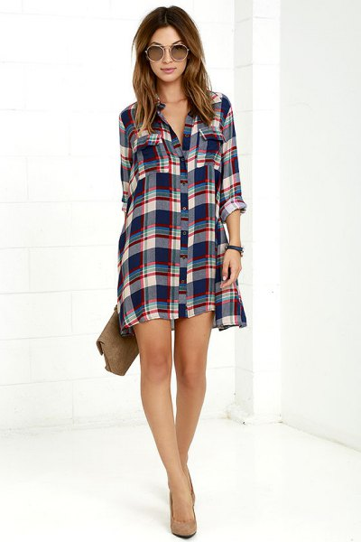 green and white checked mini shirt dress with button closure