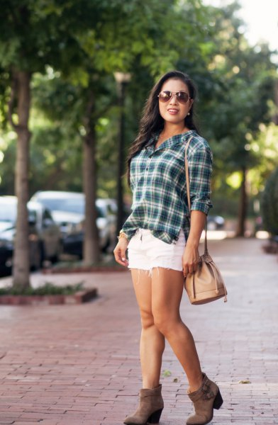 green and white checked shirt with gray suede boots