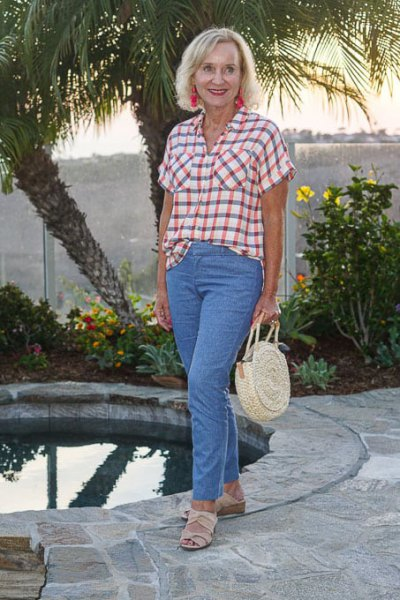 green and white checked shirt with light blue mom jeans