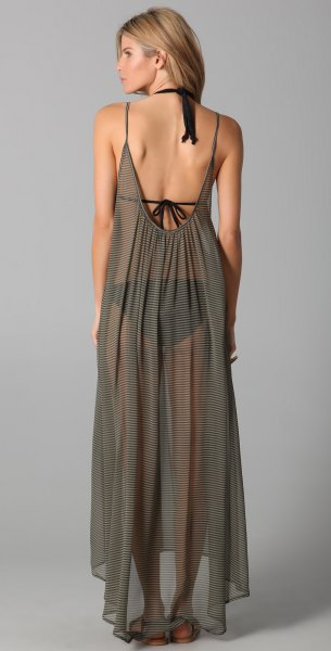 green backless, semi-transparent chiffon maxi dress