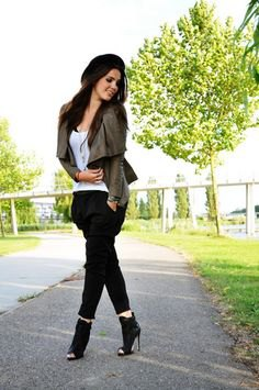 green blazer with white tank top with black peep toe ankle boots