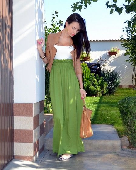 green blazer with white top and high-quality maxi skirt