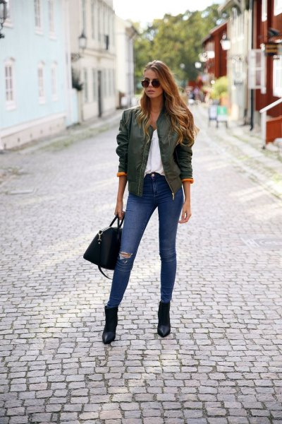green bomber jacket pointed toe ankle boots
