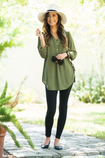 green chiffon tunic blouse with buttons and black leggings