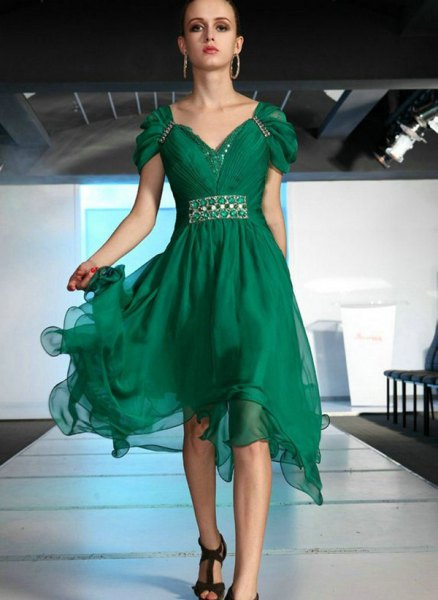 green chiffon midi dress with cap sleeves