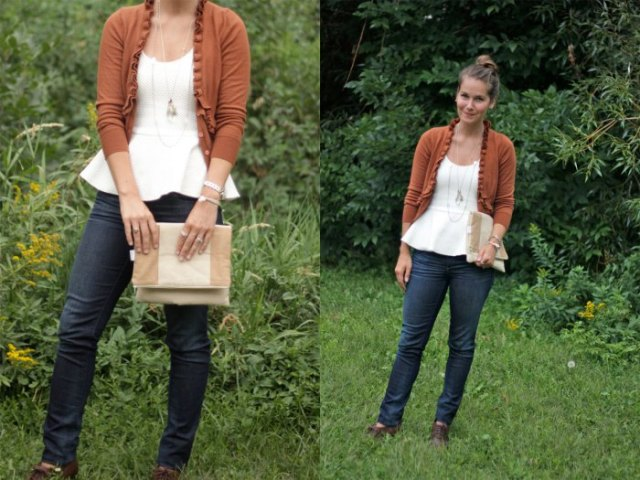 green cardigan with white peplum top and dark skinny jeans