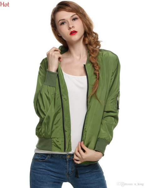green casual sports coat with blue slim fit jeans