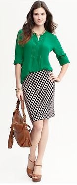 green chiffon blouse with checked pencil skirt
