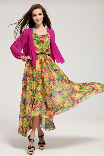 green maxi dress with floral pattern made of chiffon