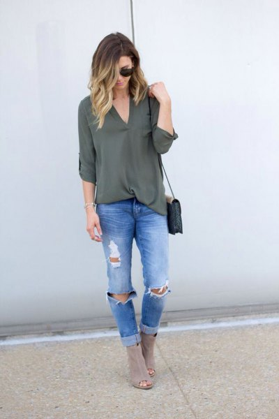 green tunic top with chiffon V-neck and boyfriend jeans