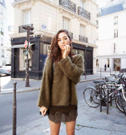 green, chunky mohair sweater mini dress