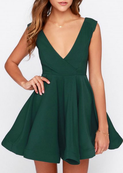 green skater cocktail dress with deep V-neckline