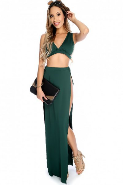 green two-piece maxi dress with deep V-neck and side slit