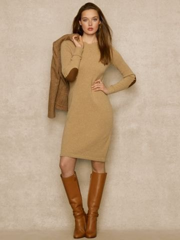 Knee-length sweater dress with green elbow patch