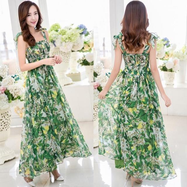 green floral mix dress outfit