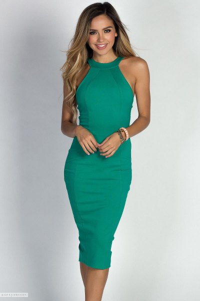 green halter bodycon midi cocktail dress