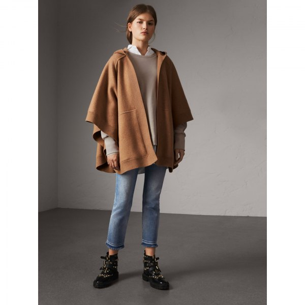 green hood poncho blue mother jeans