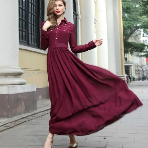 green pleated maxi dress with long sleeves