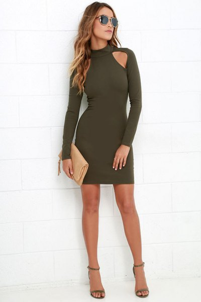 green long-sleeved mock neck cutout bodycon mini dress on the front