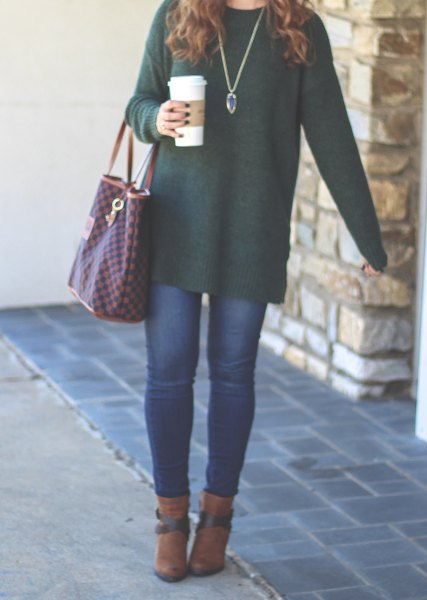 green long top with camel boots
