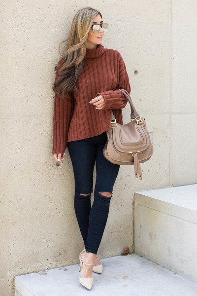 green ribbed sweater with fake neck, black jeans