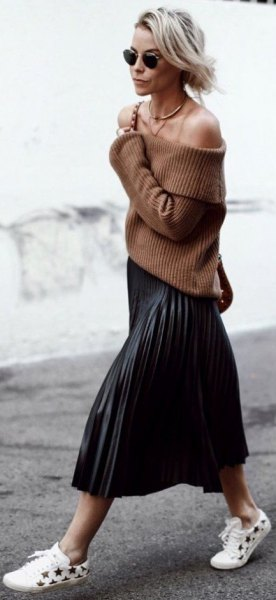 green strapless rib sweater with black pleated midi skirt