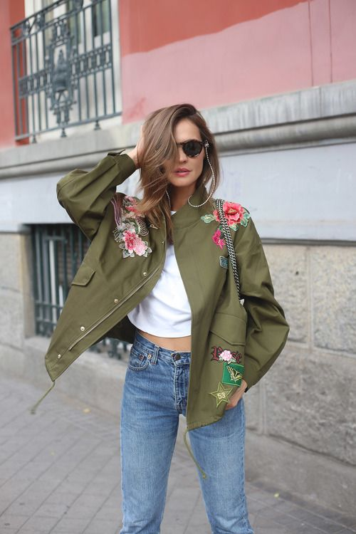 embroidered green parka