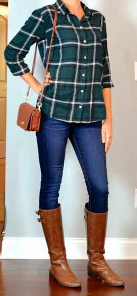green plaid shirt with blue skinny jeans and brown leather boots