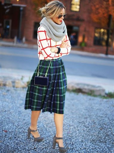 green checked skirt with red and white sweater
