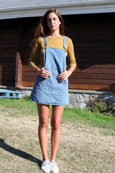 green ribbed knitted sweater light blue denim dress