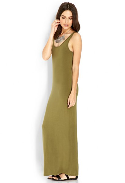 green sleeveless maxi jersey knit dress with scoop neckline