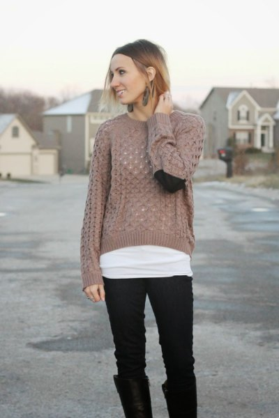 green semi-transparent knitted sweater black jeans