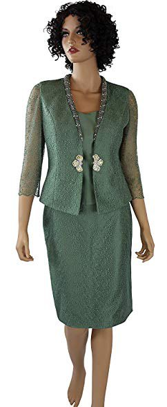 green, semi-transparent skirt suit with silk blouse