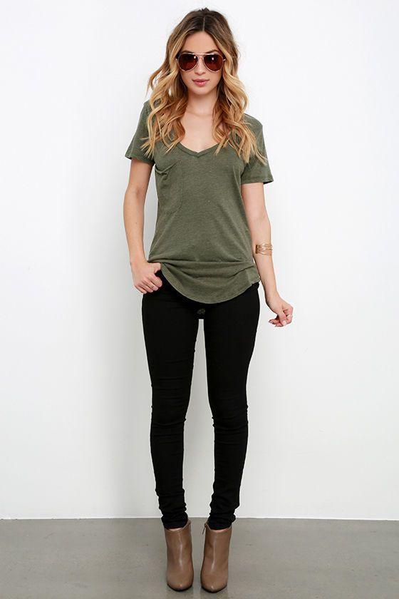 Pleasant Surprise Olive Green Tee | Fashion, Cute outfits, Cloth