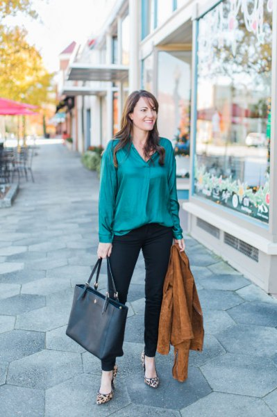 green shirt with silk buttons and black ankle chinos