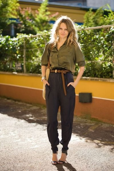 green shirt with silk buttons and black khaki joggers