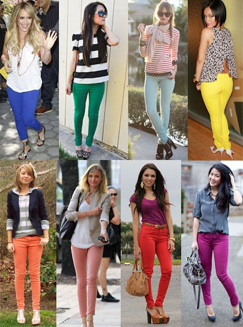 colored denim | Colored skinny jeans, Outfit inspirations, Cute .