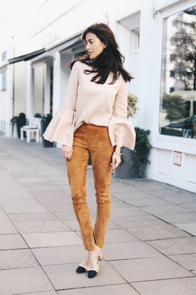 green suede pants white bell-sleeved sweater