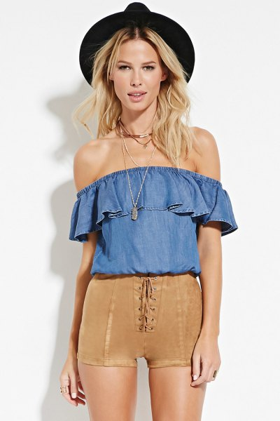 green suede shorts blue chambray shoulder blouse