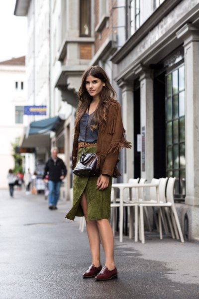 green suede midi skirt