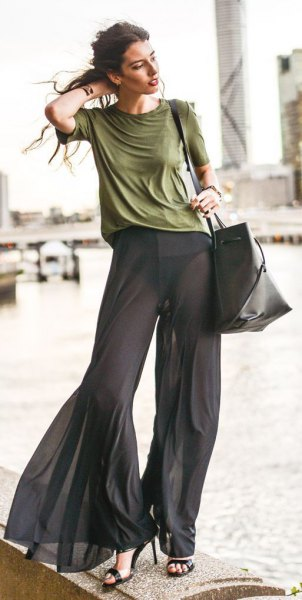 green t-shirt with black chiffon pants with bell bottom