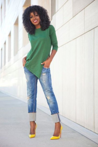 green tunic shirt with blue cut, slim cut jeans
