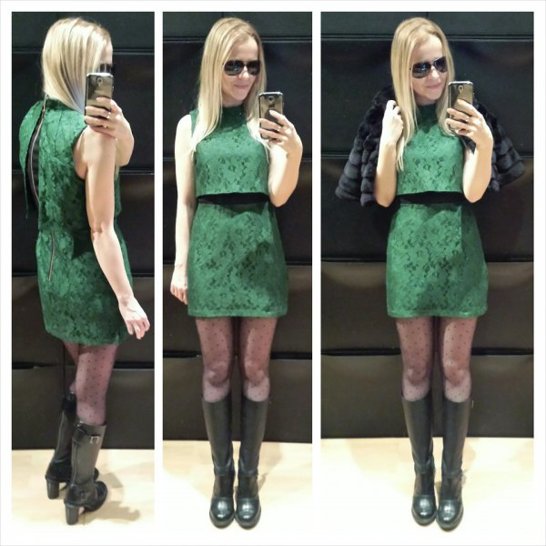 green two-piece mini dress with black knee-high boots