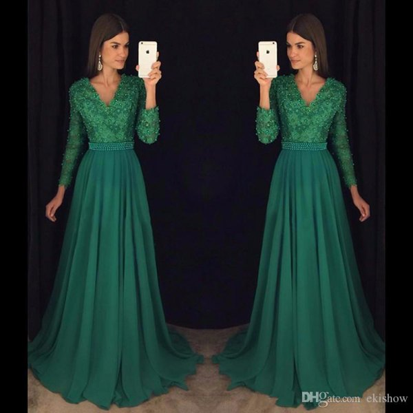 green, two-tone, flowing dress made of lace and chiffon