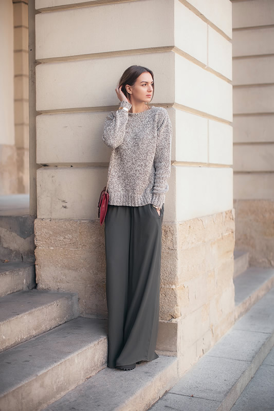 green wide-leg pants, knitted sweater outfit