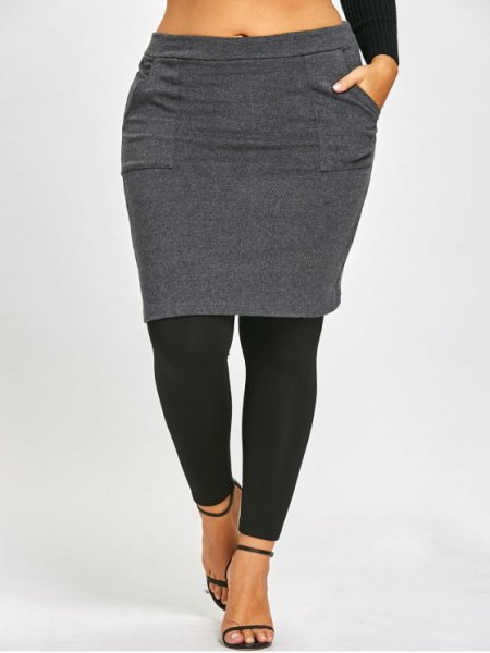 gray and black skirt leggings and cropped long-sleeved T-shirt